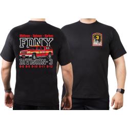 T-Shirt black, New York City Fire Dept. Divison 3,...