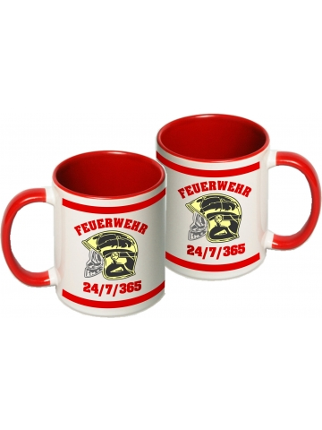 Tasse: MSA-Helm, 24/7/365, two-tone-coffee-cup, red (1 Stück)