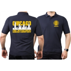 CHICAGO FIRE Dept. Squad Skyline bicolor, azul marino Polo