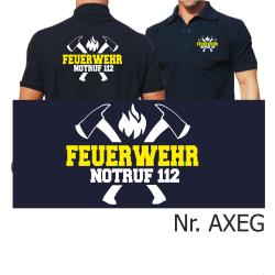 Polo blu navy, FEUERWEHR NOTRUF 112 con assin...