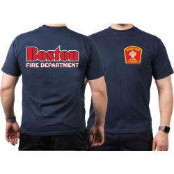 T-Shirt navy, Boston Fire Dept., red-white-yellow, XL