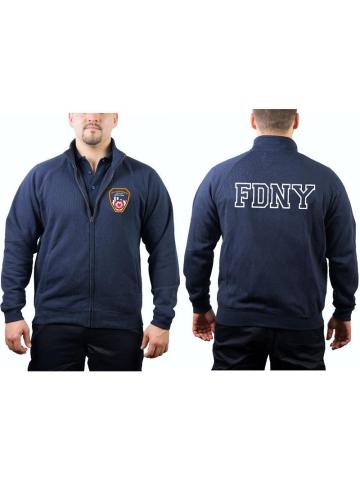 feuer1 Kapuzensweatjacke Navy FDNY mit fabrigem Brustlogo und Outline-Schriftzug auf R/ücken
