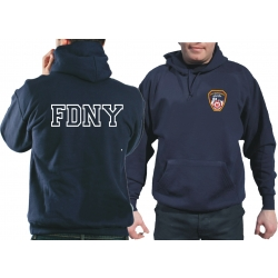 Hoodie navy, Fire Dept. New York City with farbigem...