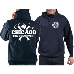 CHICAGO FIRE Dept. axes and flames, navy Hoodie