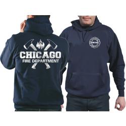 CHICAGO FIRE Dept. axes and flames, SILVER edition, azul...