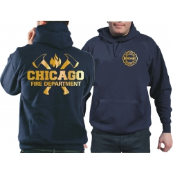 CHICAGO FIRE Dept. axes and flames, GOLD edition, navy...