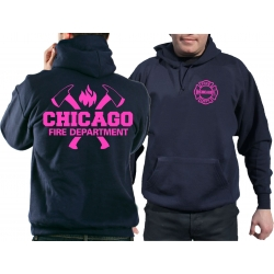 CHICAGO FIRE Dept. axes and flames neonpink, navy Hoodie