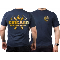 CHICAGO FIRE Dept. axes and flames, GOLD edition, azul...