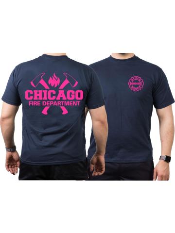T Shirt Navy Chicago Fire Dept Mit Axten Und Standard Emblem Pink