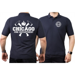 CHICAGO FIRE Dept. axes and flames, navy Polo