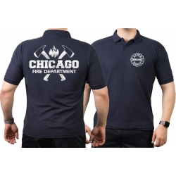 CHICAGO FIRE Dept. axes and flames, SILVER edition, navy...