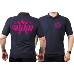 CHICAGO FIRE Dept. axes and flames neonpink, navy Polo