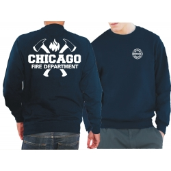 CHICAGO FIRE Dept. axes and flames, blu navy Sweat
