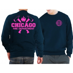CHICAGO FIRE Dept. axes and flames neonpink, blu navy Sweat