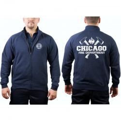 CHICAGO FIRE Dept. Sweat jacket navy, with axes and...
