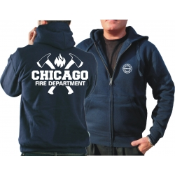 CHICAGO FIRE Dept. Hooded jacket navy, with axes and...