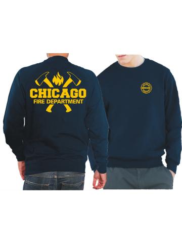 CHICAGO FIRE Dept. axes and flames en yellow, azul marino Sweat