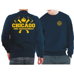 CHICAGO FIRE Dept. axes and flames en yellow, azul marino...
