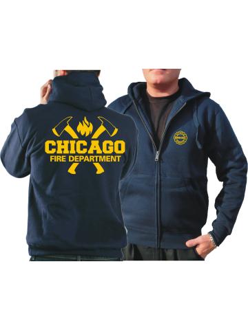 CHICAGO FIRE Dept. Chaqueta con capucha azul marino, con ejes y Standard-Emblem en amarillo