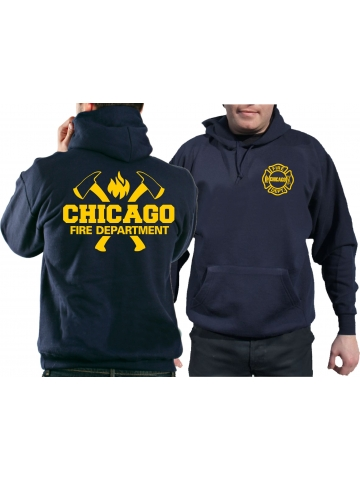 CHICAGO FIRE Dept. axes and flames en yellow, azul marino Hoodie