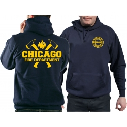 CHICAGO FIRE Dept. axes and flames in yellow, navy Hoodie