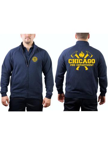 CHICAGO FIRE Dept. Chaqueta de sudor azul marino, con ejes y Standard-Emblem en amarillo