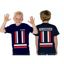 Kinder-T-Shirt marin, FEUERWEHR avec rougedans et...
