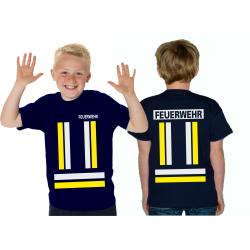 Kinder-T-Shirt marin, FEUERWEHR avec jaunedans et...