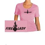 Maglietta delle donne-Shirt tailliert nel rosa, FIRE LADY nel nero con Text