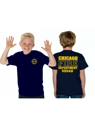 Kinder T-Shirt navy, CHICAGO FIRE DEPT. SQUAD, in gelb