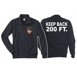 "Sweatjacke navy, ""KEEP BACK 200 FT."" mit Emblem..."